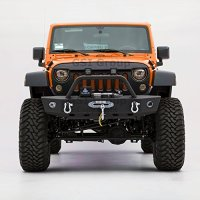 GSI 07-17 Jeep Wrangler JK Black Textured Rock Crawler Front Bumper w/OE Fog Lights Hole & 2x D-Ring & Winch Plate (Black)