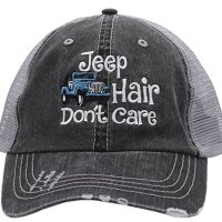 Blue Jeep Hair Don't Care Embroidered Distressed Trucker Style Cap Hat Rocks any Outfit Grey