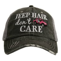 Jeep Hair Don't Care Women's Distressed Grey Trucker Hat