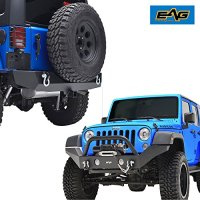 E-Autogrilles 07-17 Jeep Wrangler JK Full Width Front Bumper with OE Fog Light Holes & Winch Plate & 2X D-Ring and Rear Bumper with 2'' Hitch Receiver-Textured Black Combo (51-0359+51-0310)