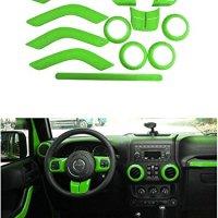 Opall Full Set Interior Decoration Trim Kit Steering Wheel & Center Console Air Outlet Trim, Door Handle Cover Inner, Passenger Seat Handle Trim For Jeep Wrangler JK JKU 2011-2017 4 Door (Green 12PCS)