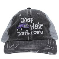 Purple Jeep Hair Don't Care Embroidered Distressed Trucker Style Cap Hat