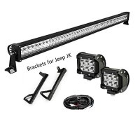 "YITAMOTOR 52"" inch 300W Combo+ 2X 18W Spot LED Light Bar + Mounting Brackets+Wiring for JEEP JK Wrangler"