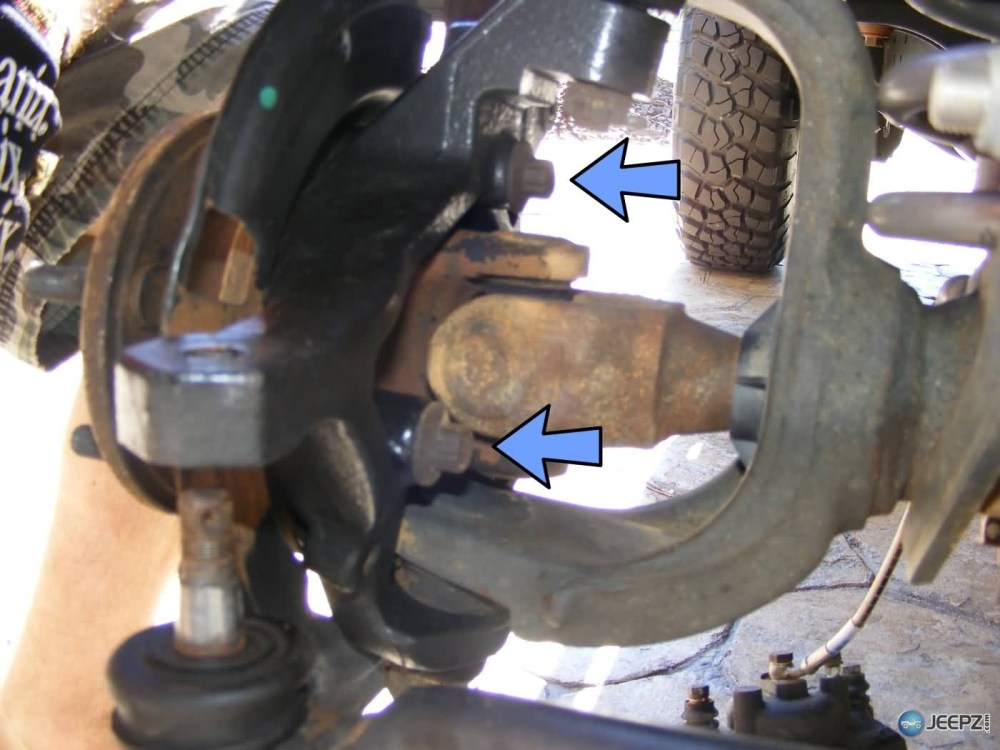 medium resolution of jeep wrangler ball joint replacement 5 bolts removed jpg