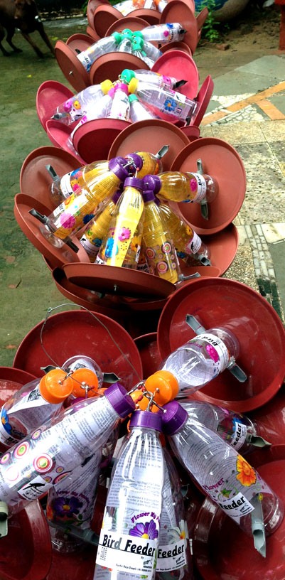 Birdfeeders prepared by Jeevantirth for Care4Nature.
