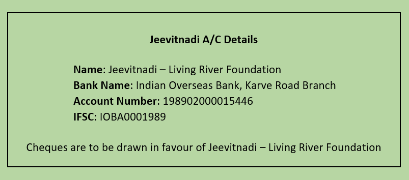 Jeevitnadi account details for donation