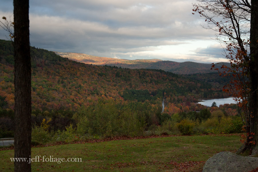 an early view from Georges Mills of the surrounding hillsides with fall foliage colors beginning to show