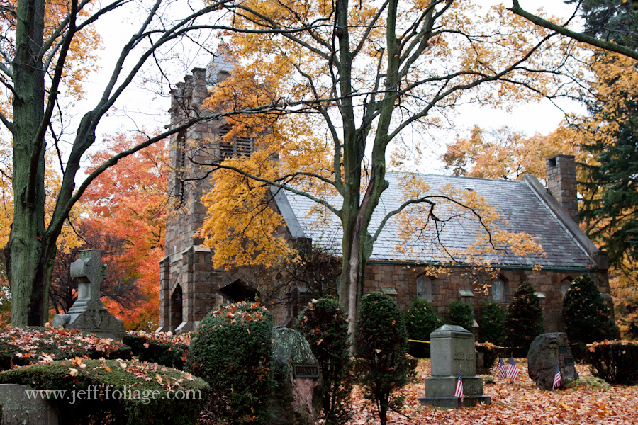 Swampscott cemetery is full of old Maple and Oak trees with tons of fall foliage colors that cover the memorials