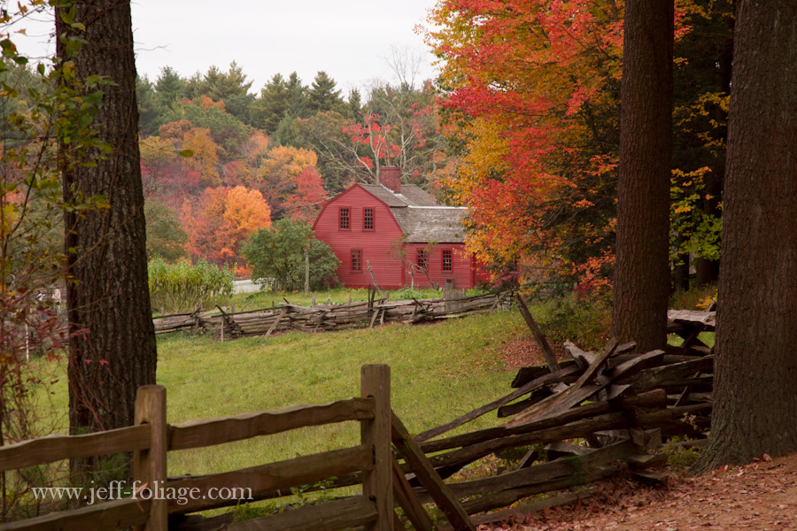 red painted homestead in Sturbridge village