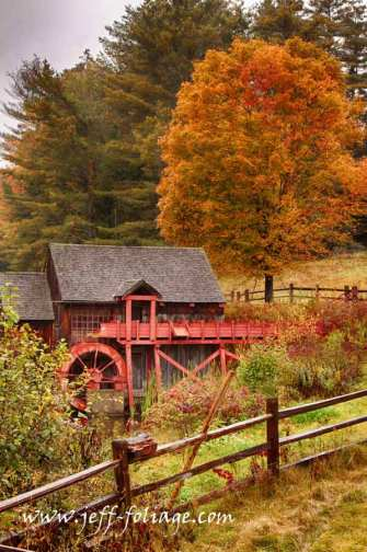 fall color surrounds the old gristmill at the old Crawford farm in Guildhall Vermont