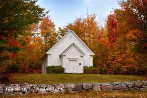 Randolph white church in fall foliage