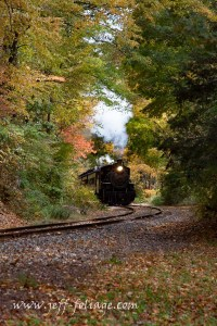 Stream train in fall colors in Essex Connecticut