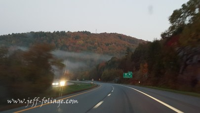 fog over fall foliage on the horizon