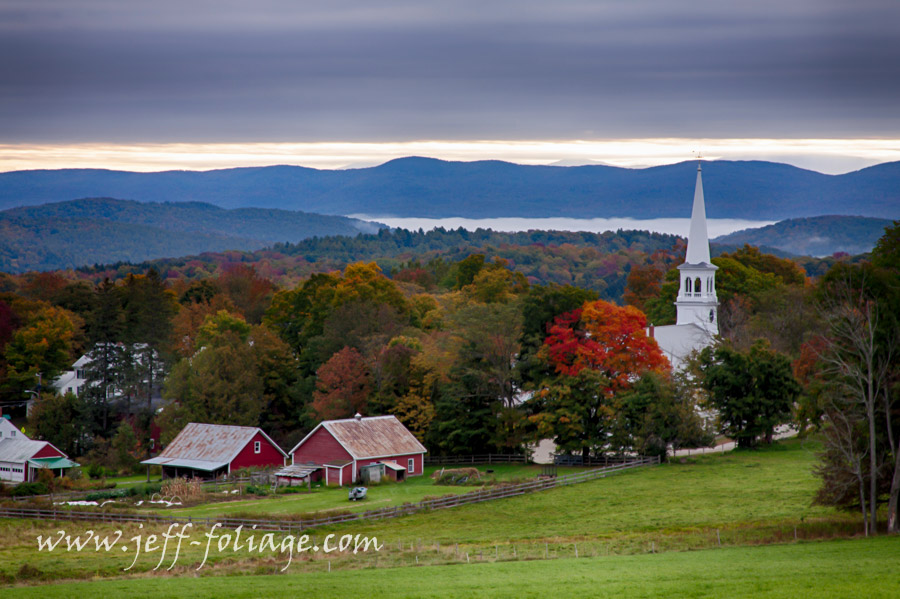 Peacham village in the Northeast Kingdom of Vermont in autumn, showing New England fall foliage