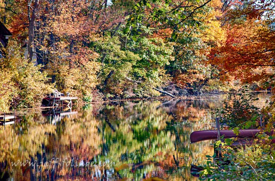 Fall reflection on the Chocorua river in Tamworth county New Hampshire, New England Photography
