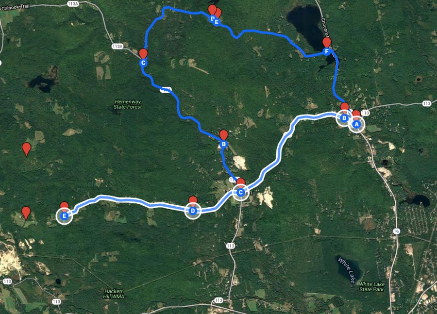 Route from Chocorua lake to Barn with view of Mount Chocorua