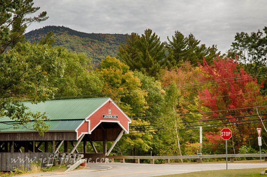 Jackson New Hampshire covered bridge under New England fall foliage