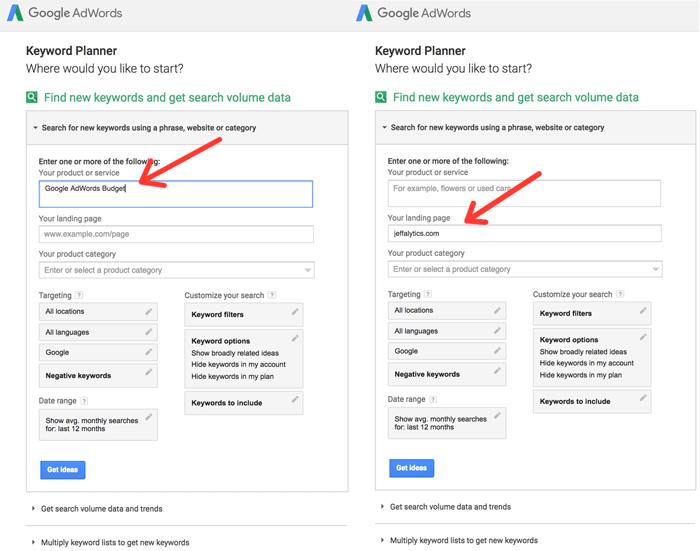 Keyword Planner Google AdWords budget