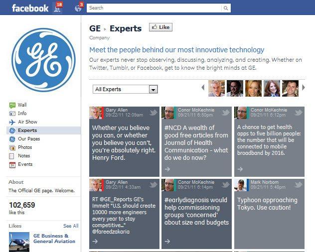 GE Facebook page