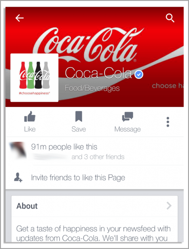 Coca Cola mobile device view