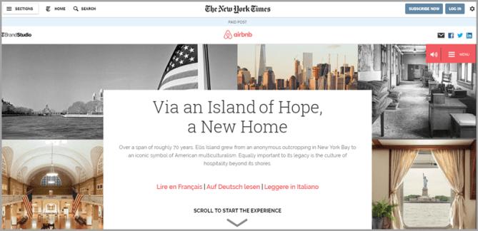 NytimesとAirbnbの共同ネイティブ広告