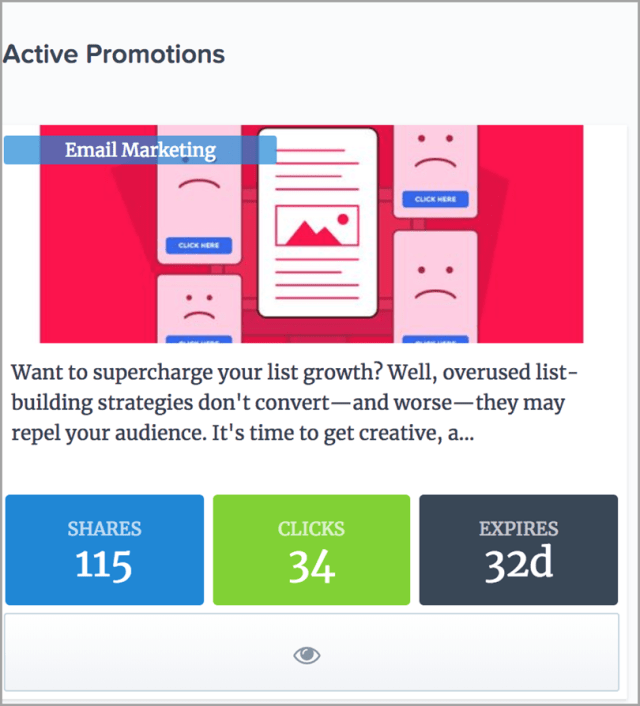 Quuu Promote for Active promotions for content promotion strategies