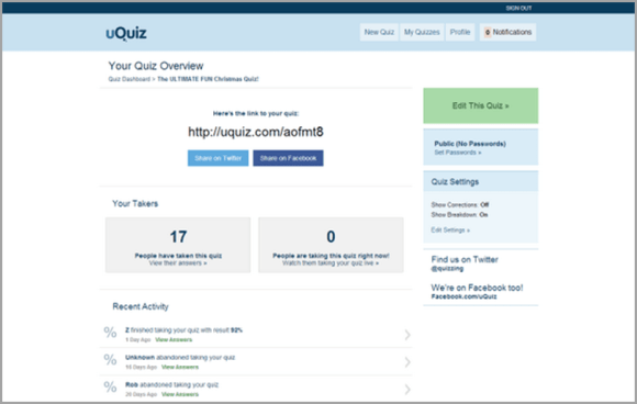 uQuiz على الانترنت برنامج مسابقة الرصاص منشئ مسابقة بسيطة لالتقاط جمهورك