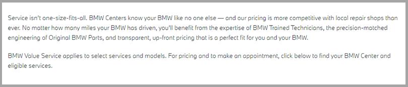 BMW Value Service Learn More Button Persuasive Copywriting