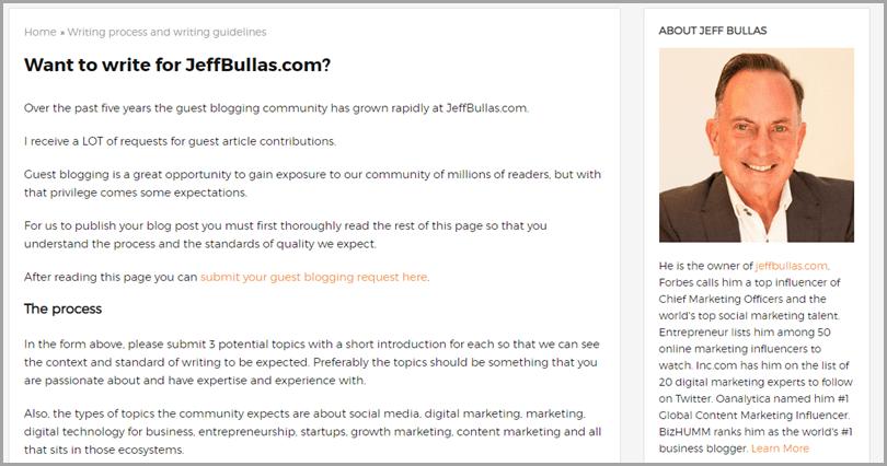 Jeffbullas.com Guest Blogging Site