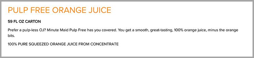 Minute Maid Pulp Free Orange Juice Persuasive Copywriting