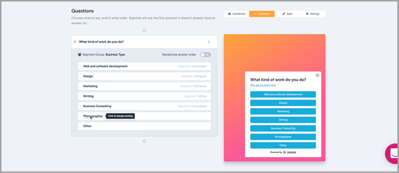 Right-message-platform-questions-tab-content-personalization-tool