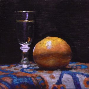"""Shotglass and Orange on Oriental Rug"": Oil Painting"