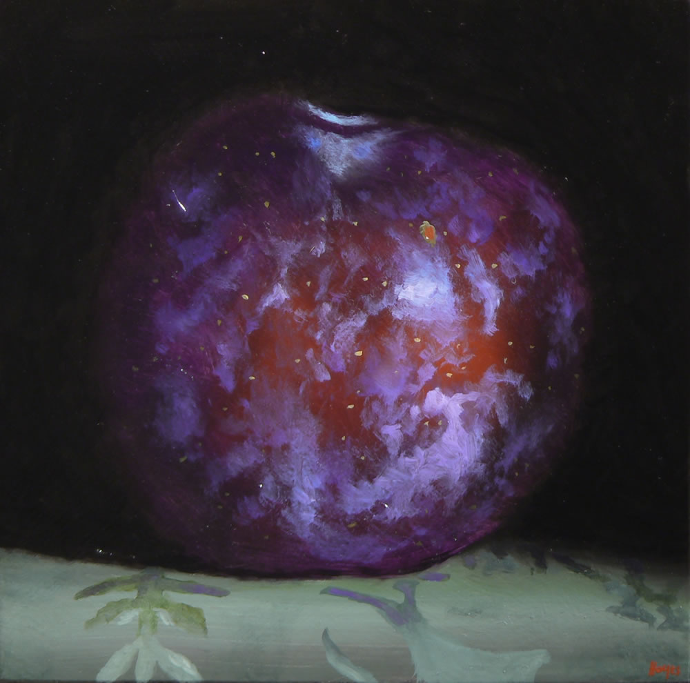 Jeffrey Hayes: Still Life, Oil Painting, Red Plum on Green Silk