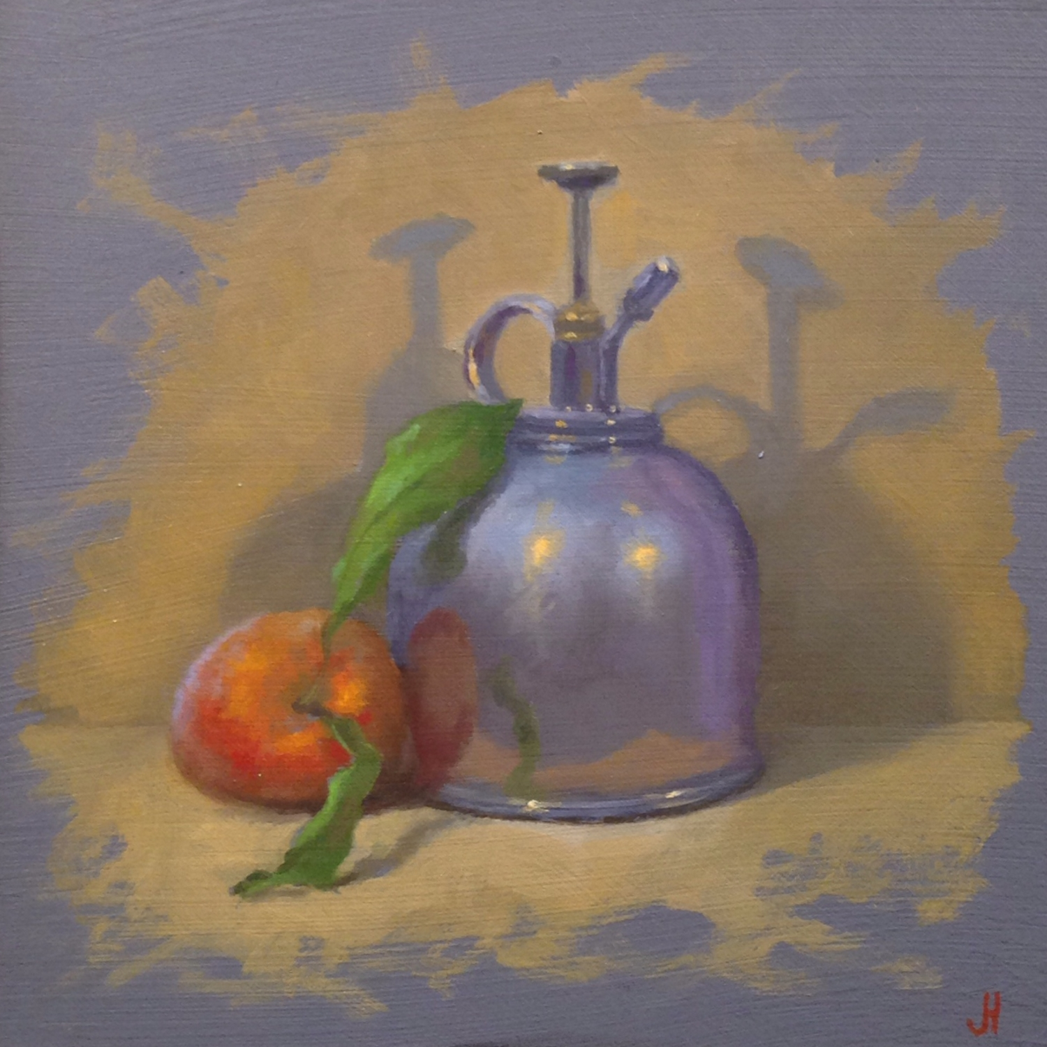 Jeffrey Hayes: Still Life Painting: Oil Painting: Peach and Mist