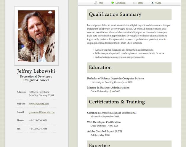 Html Resume Templates