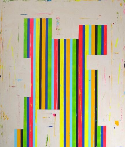"Acrylic and latex on canvas 56"" x 48"""