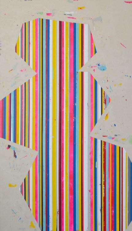 "Acrylic and latex on canvas 90"" x 50"""