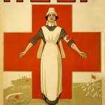 Cartoon nurse standing in front of red cross with