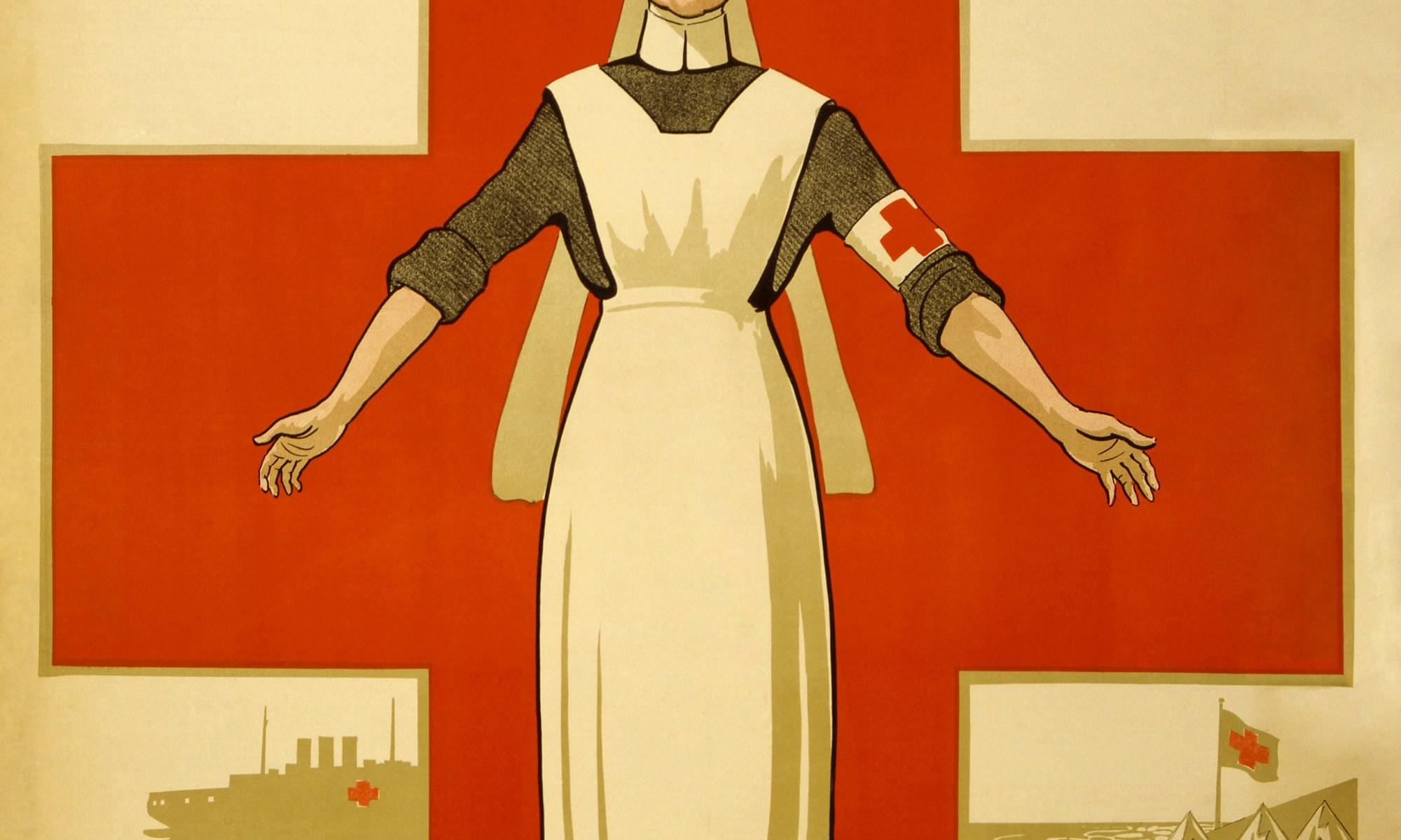 "Cartoon nurse standing in front of red cross with ""HELP"" written above her head"