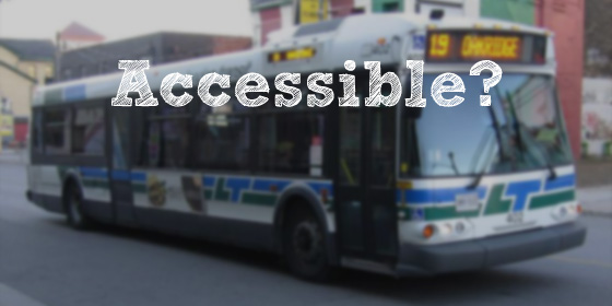 "Picture of an LTC bus with the words ""Accessible"" written above"