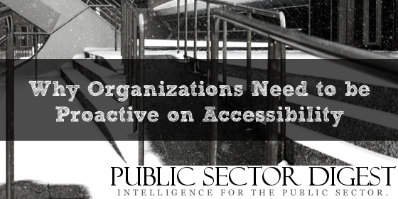 """Photo of a ramp with text """"Why Organizations Need to be Proactive on Accessibility"""""""