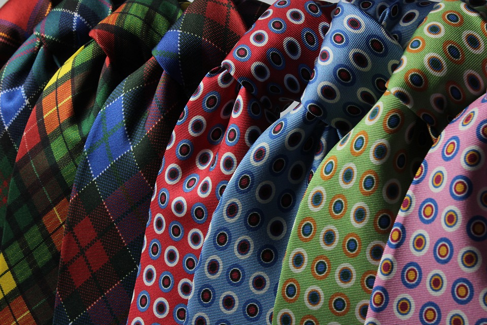 Pile of colourful neckties