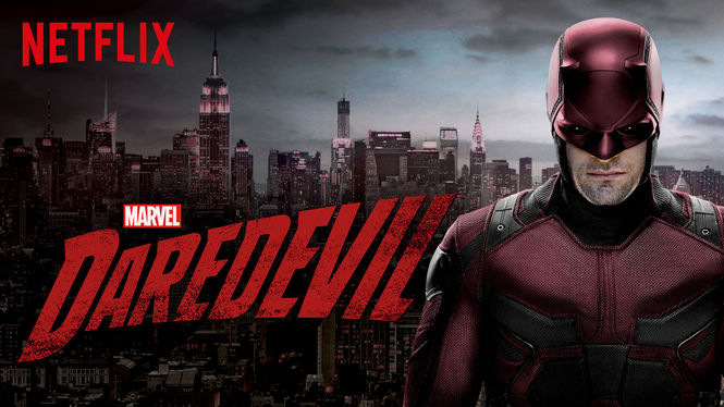 Cover page for Netflix's Daredevil, featuring Matt Murdock in costume standing in front of a cityscape
