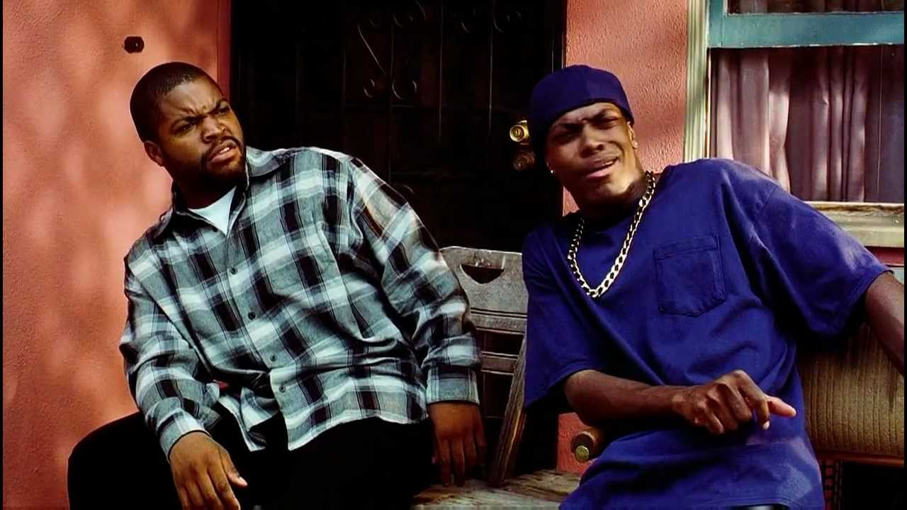 "Screen shot of Ice Cube and Chris Tucker saying ""Damn!"" in the movie Friday (1995)"