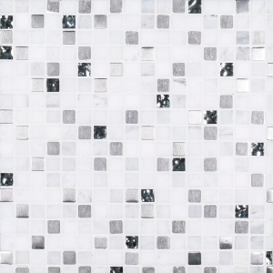 A white natural stone mosaic platinum pattern tile by Jeffrey Court.