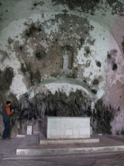 The inside of the church in the cave