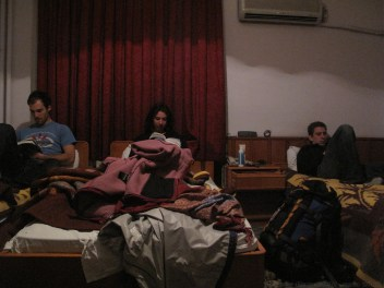 Researching for our next day's adventures in our hotel room in Antakya