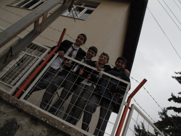 Local schoolkids clamoring to say hello to us in Kilis