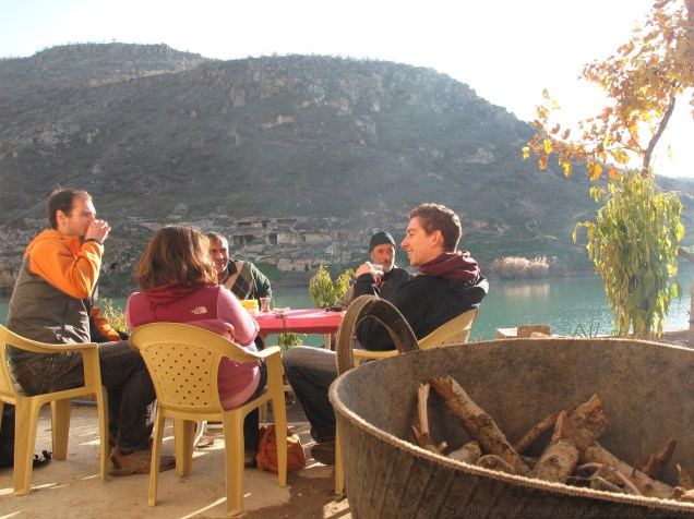 Having tea on the banks of the Euphrates with locals