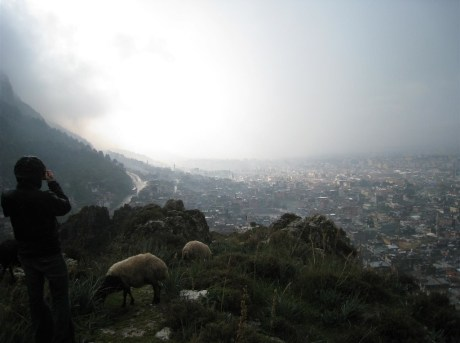 Me shooting photos from a ridge in Antakya, Turkey.